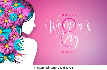 Happy Women's Day Floral Greeting Card Design. International Female Holiday Illustration with Women Silhouette, Flower and Typography Letter Design on Pink Background. Vector International 8 March