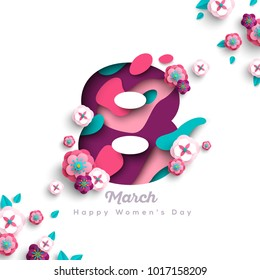 Happy Women's day greeting card. Postcard on March 8. Number eight with paper cut flowers, leaves and abstract shapes. Vector illustration.