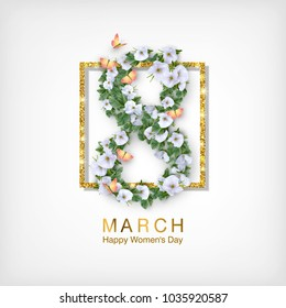 Happy women's day greeting card. Postcard on March 8. Text with flowers, gold frame and butterflies