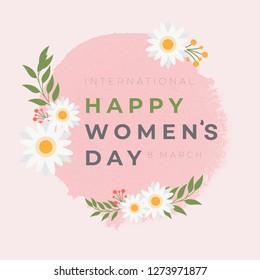 Happy women's day greeting card. Postcard on March 8 , sale and web banners flyers templates