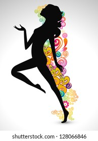 Happy Women's Day greeting card or background with  silhouette of a happy women on floral decorative background.