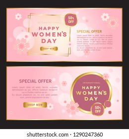 Happy women's day greeting card. Postcard on March 8 . It may be used for background, poster, advertising, sale, postcard, e-card. Vector illustration - Vector