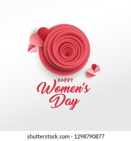 Happy Women's Day greeting card vector template. Rose bud, red hearts paper cut composition. Illustration with handwritten lettering, origami. International women's day paper art poster design