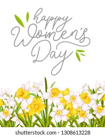Happy women's day greeting card with narcissus and white background. International women's day greeting card.Vector illustration