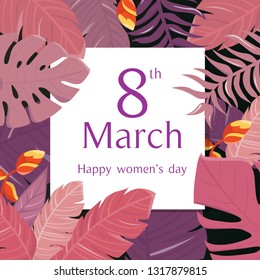Happy women's day greeting card on 8 March.