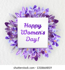 Happy Women's day greeting card with spring crocus purple flowers and copy space.  March 8 celebration poster for woman or mother realystic vector illustration.