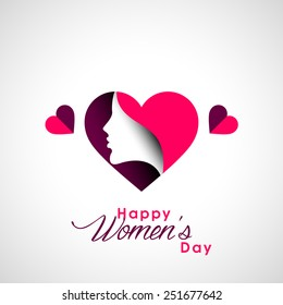 Happy Women's Day greeting card with beautiful designing elements.