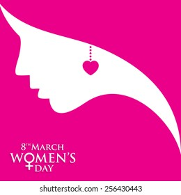 Happy Women's Day greeting card, gift card on pink background with design of a women face and text 8th March Internatinoal women day