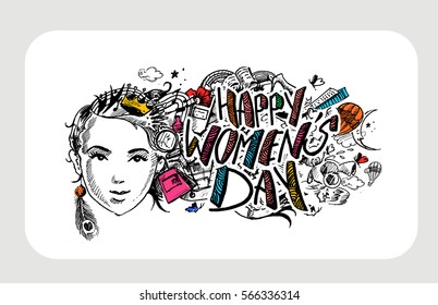 Happy Women's Day greeting card design. Hand Drawn Sketch Vector illustration.