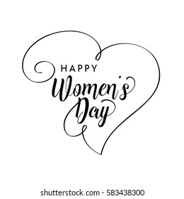 Happy Women's Day greeting card. Typographic design isolated on white background.