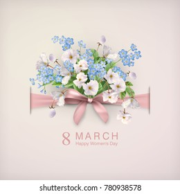 Happy womens day greeting card with a bow and a bouquet of flowers