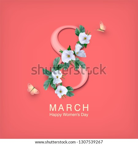 Happy women's day greeting card. Postcard on March 8. Text with flowers and butterflies