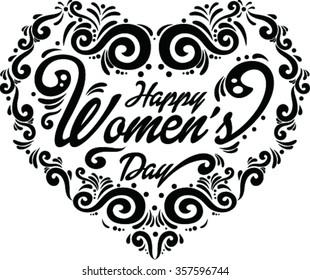 Happy Women's Day. Heart shaped.