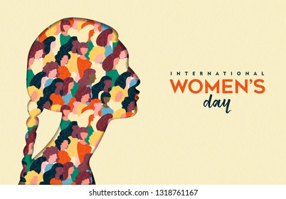 Happy Womens Day illustration. Native indian paper cut girl silhouette with women group inside, female crowd for equal rights march or peaceful protest concept.