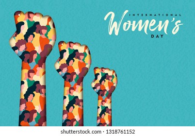 Happy Womens Day illustration. Paper cut woman hands with women group inside, female crowd for equal rights march or girl power concept.