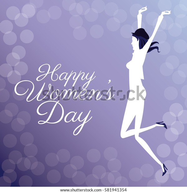 happy womens day- jumping girl poster bubbles background