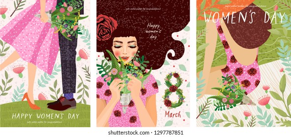 Happy Women's Day March 8! Cute cards and posters for the spring holiday. Vector illustration of a date, a woman and a bouquet of flowers!