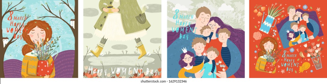Happy Women's Day March 8! Vector cute illustrations of family, spring, flowers and holiday objects. Drawings for poster, card or background.