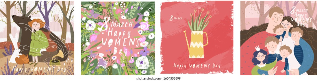Happy Women's Day March 8! Cute vector illustrations: mother with family and children; flowers girl on nature with animals and floral background. Drawings for a card, poster or postcard.