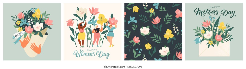 Happy Women's Day March 8! Cute cards and posters for the spring holiday. Vector illustration of a date, a women and a bouquet of flowers!