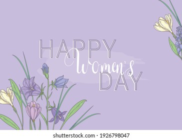 Happy womens day. March 8. Purple banner with spring flowers