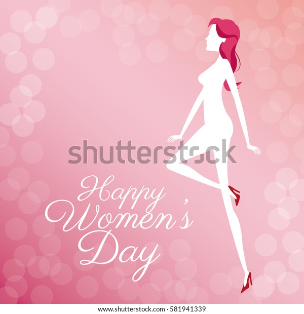 happy womens day poster cute girl bubbles background