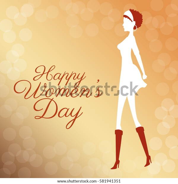 happy womens day poster elegant girl bubbles background