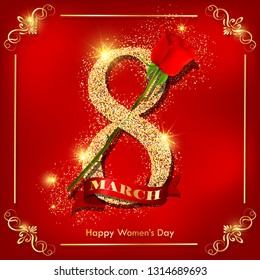 Happy women`s day red greeting card with gold glitter number and red rose. Vector illustration for international women`s day march 8th