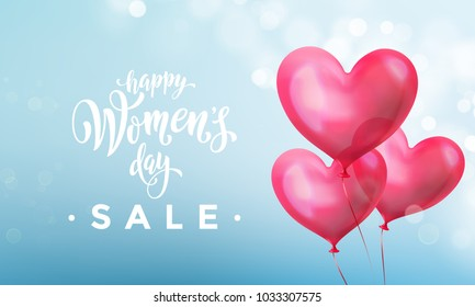 Happy women's day sale banner with ballon heart on romantic blue light bokeh background. Vector 8 March greetings text poster for mother's day sale. International women's day discount flyer template