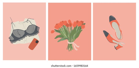Happy Women's Day, Set of cards March 8, a bouquet of tulips, a folded sweater, bra, phone in a case, shoes