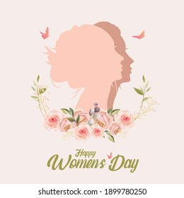 Happy Women's Day! Silhouette of a woman face with flowers petals and leaves. 8 march, Invitation card copy space. vector illustration.