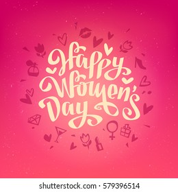 Happy Women's Day Vector Card to 8 March in cartoon Vintage style Hand Drawing Lettering Design on pink background. Template for label, post card and decoration for Woman's Day banner