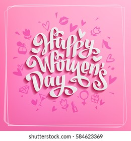 Happy Women's Day vector Card to 8 March in Trendy Retro style Hand Drawing Lettering Design on pink background. Vector Template for label, greeting post card and decoration for  Women's Day banner