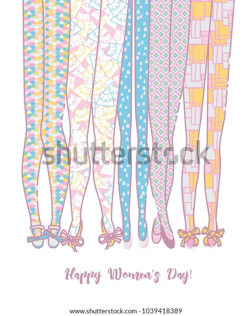 Happy women's day vector greeting card in hand drawing style and pastel colors.