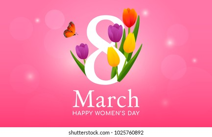 "Happy Women's day vector illustration, "" 8 March "" with beautiful tulip flower on pink background"
