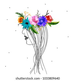 Happy Women's Day, Vector Illustration of decorated with flowers, grunge and Line Art Lady.