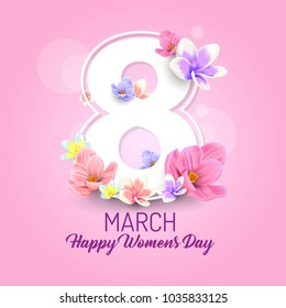 happy womens day vector illustration with decorative flower and text 8 march beautiful moment