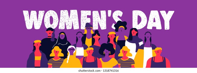 Happy womens day web banner illustration. Diverse culture woman group in modern urban art style. Powerful women concept for protest, march or equal rights.