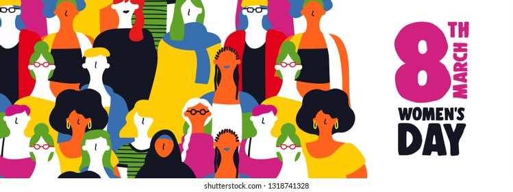 Happy womens day web banner illustration for March 8th. Diverse colorful woman group together on equal rights celebration.