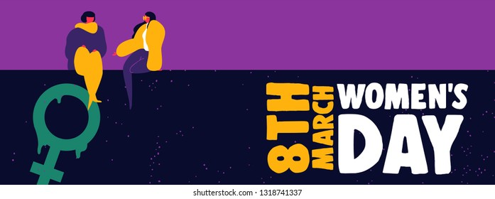 Happy Womens Day web banner illustration. Young girl friends talking on wall with female symbol graffiti for women rights support.