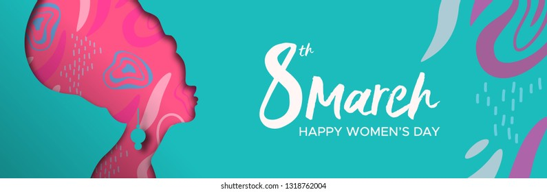 Happy Womens Day web banner illustration. Paper cut african girl silhouette cutout with turban and hand drawn doodles, afro woman for female rights worldwide.