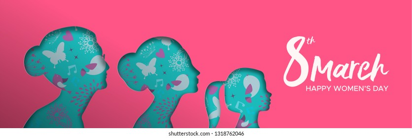 Happy Womens Day web banner illustration. Paper cut women silhouette cutout with grandma, mother and kid. Beautiful multi generation woman group for female rights event.