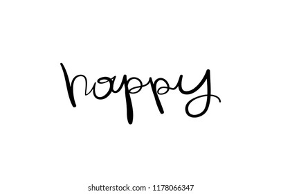 Happy word typography lettering / Vector illustration design