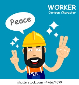 A happy worker with big Smiling and Say Peace. Vector illustration eps.10