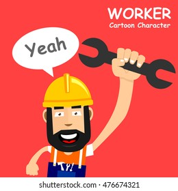 A happy worker with screwdriver. Vector illustration eps.10