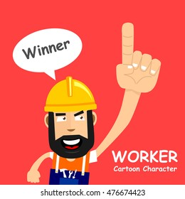 A happy worker with winner speech bubble. Vector illustration eps.10