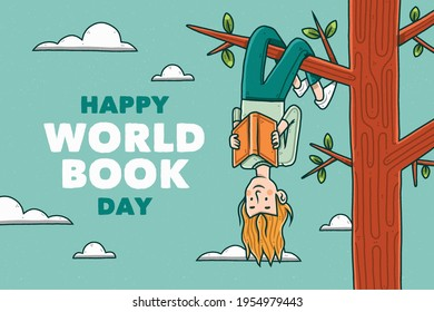 Happy world book day with woman reading book hanging upside down on tree.