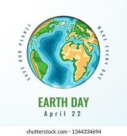 Happy World Earth Day. April 22. 3d paper cut style design. Vector illustration.