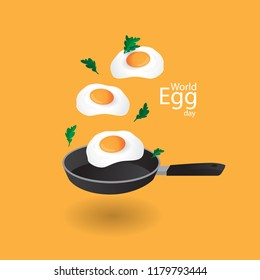 Happy World Egg Day concept with pan and egg