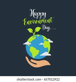 happy world environment day nature green vector illustration